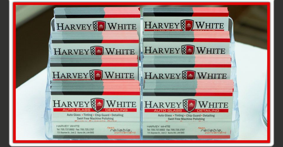 Harvey White Auto Glass and Detailing business cards